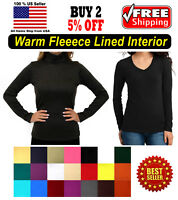 Warm Fleece Seamless Stretch Long Sleeve Turtleneck Mock High Neck V Neck Top