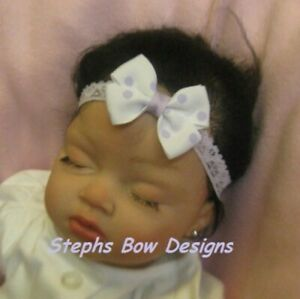 Lavender White Dots Dainty Hair Bow Headband 4 Preemie Newborn Toddler Easter