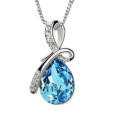 Blue Crystal Water Drop Pendant Necklace Rhodium Plated Zircon Necklaces VeBRIC