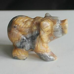 Hand carved gemstone crystal crazy lace agate bear figurine animal carving