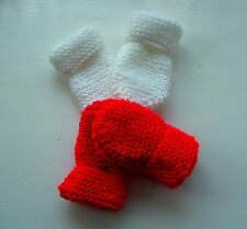 BABY HAND KNITTED MITTENS, 2 PAIRS -  WHITE & RED, 3-6 MONTHS, NEW