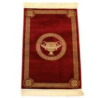 Exklusiver Mäander Medusa Teppich Rot K-Seide Meander Carpet Rug versac