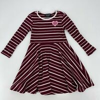 Tiny Whales Skater Dress Kids Size 5 Maroon Ribbed Girls Rule Stripe Long Sleeve