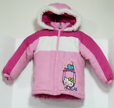 Hello Kitty Pink and White Winter Jacket Attached Hood w/Faux Fur Girl's 4 Good