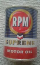 VINTAGE CHEVRON RPM SUPREME MOTOR OIL ADVERTISING TIN CAN BANK