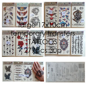19p wholesale clearance lot large 17x10cm temporary transfer tattoos 277pc