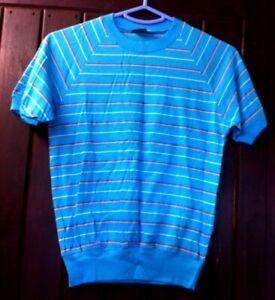Simon Striped Short Sleeve T-Shirt Top. UK Size 10. Blue, Yellow, Red. BNWOT.