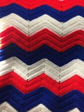 Hand Crafted Cotton Afghan Red White And Blue App 60x70 Inches. beautiful