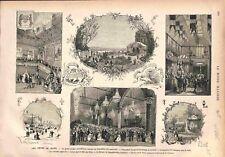 Fêtes de Blois Exposition des Beaux-Arts Bal Salle des Etats Buffet GRAVURE 1875