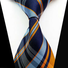 Business Classic Blue Orange Check Jacquard Striped Woven Necktie Men Suits Tie