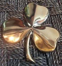 Vtg Gerity 24K gold plated over brass 4 Leaf Clover Paperweight 1986 Irish Luck