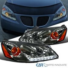 For 05-10 Pontiac G6 Smoke Projector Headlights Head Lamps w/ LED DRL Strip Pair