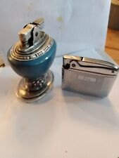 Two Retro Ronson Lighters One Leona Table Lighter, One Adonis Pocket Lighter