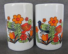 VTG Flowers Birds Hippie Salt Pepper Shakers Ceramic Royal Crown Paradise NOS