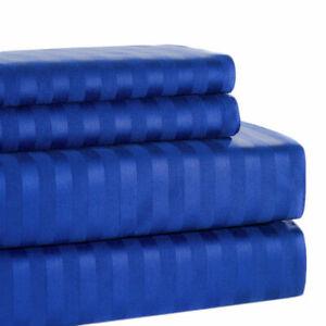 Premium Egy Cotton 1200TC Duvet Set+Fitted Sheet Egyptian Blue Striped All Sizes