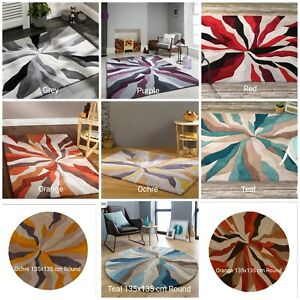 INFINITE SPLINTER COLOURFUL HEAVY WEIGHT QUALITY HAND CARVED SOFT 3D RUG ROUND