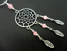 """A LOVELY TIBETAN SILVER & PINK JADE   DREAMCATCHER NECKLACE ON 18"""" SNAKE CHAIN."""