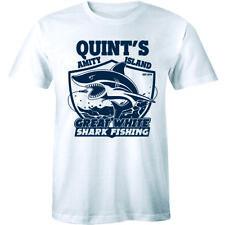 Quints Fishing Jaws Movie T Shirt Amity Island Poster Retro Distressed Tee Mens