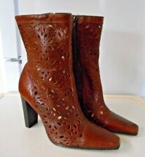 DOROTHY PERKINS BROWN LEATHER CUT OUT DESIGNER FESTIVAL ANKLE BOOTS uk 7
