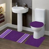 Assorted Design #7 Bathroom Bath Contour Non-Slip Rug Mat Set & Toilet Lid Cover