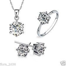 Parure argent, cristal collier chaîne, pendentif, boucle d'oreille, bague bijoux