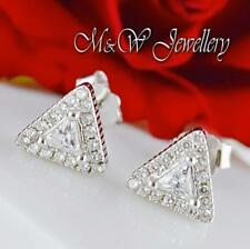 925 Sterling Silver Rhodium Plated Stud Triangle with Clear Zirconia 7mm