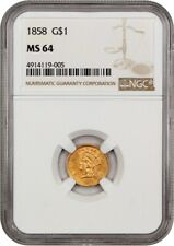 1858 G$1 NGC MS64 - Underrated Date - 1 Gold Coin - Underrated Date