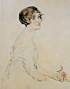 THE WOMAN WITH THE APPLE, by Etienne, Pretty Lady Vintage 1912 Antique Art Print