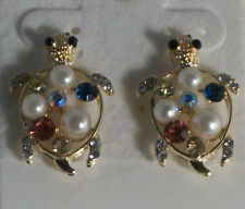 Gold Plate Pierced Turtle Earrings with White Pearl Pink AB Green Crystals