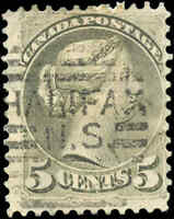 Canada Used 1876 5c F Scott #38  Perf. 12 Small Queen Stamp