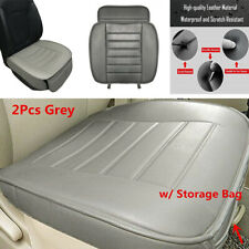 2Pcs Grey Full Surround Seat Cushion PU Leather Seat Cover Mat Auto Office Chair