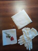 VINTAGE ANTIQUE LOT OF 6, ANTIQUE WHITE LADIES GLOVES,2 HANDKERCHIEFS,3 HAT PINS