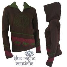NEPAL FAIR TRADE Spiral Design Upcycled Patch BoHo Yoga Hippie Hoodie L / XL