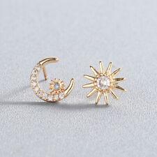 Tiny Crescent Moon Star Asymmetric Stud Earrings For Women Round Zircon Earrings