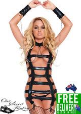 Sexy Black Faux Leather Wet Straps and Chains Bondage Dress Lingerie  (L1176)