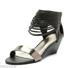 NEW 7 Matisse City Scape Black Strappy Fringe Ankle Wedge Heels Sandals Shoes