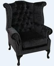 Chesterfield Queen Anne High Back Wing Chair Modena Midnight Black Velvet