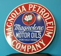 VINTAGE MAGNOLIA GASOLINE PORCELAIN GAS SERVICE STATION PUMP PLATE AD SIGN