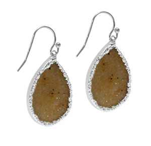 Baublebar Dramatic Druzy Drop Dangle Earrings Sterling Silver White Gold over