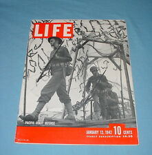LIFE MAGAZINE JANUARY 12 1942 WWII US PACIFIC COAST DEFENSE MALAYA JUNGLE WAR