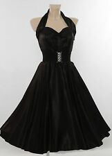"Vivien of Holloway 1950 S ""noir satiné"" dos-nu Cercle Robe UK 10."