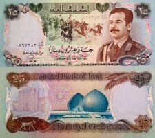 GENUINE SADDAM HUSSEIN MILITARY 1986 IRAQ GULF WAR 25 DINAR UNC