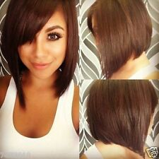 100% Real Hair! Charming Short Light Brown Straight Trendy Inclined Bang Wig