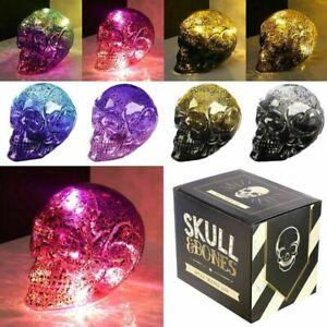 Decorative LED Light Metallic Two Tone Skull Battery Night Lamp Ornament Gift