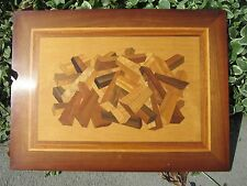 Inlaid Wood Wooden Abstract Art Picture Signed C.R. Edwards Winston-Salem, NC