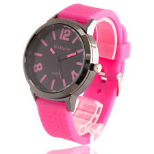 NEW FASHION PINK SPORT WOMENS WATCHES VINTAGE RUBBER BAND RELOGIO FEMILINO RELOJ