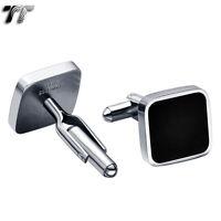 Top Quality TT 316L Stainless Steel Black Square Cufflinks (CU38)