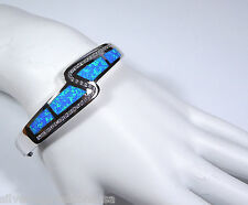 Amazing Quality Blue Fire Opal Inlay & Topaz 925 Sterling Silver Bangle Bracelet