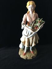 #1401 Young Farm Lady Porcelain Figurine Homco Home Interior