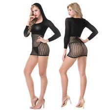 LK _ EG _ donna con cappuccio trasparente manica lunga a rete Camicia da notte